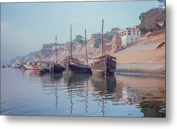 Boats On The Ganges River Metal Print