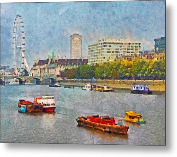 Boats On The River Thames And The London Eye Metal Print