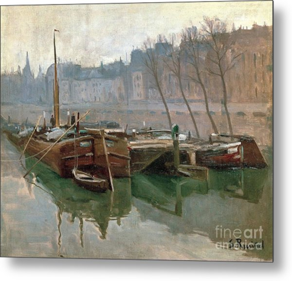 Boats On The Seine Metal Print by Roberto Prusso