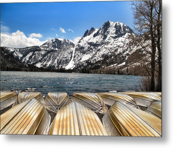 Boats On The Shore Metal Print by Edward Hamm