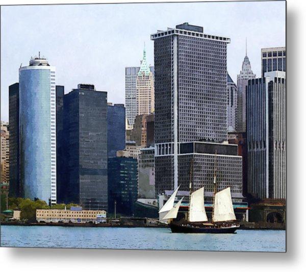 Boats - Schooner Against The Manhattan Skyline Metal Print by Susan Savad