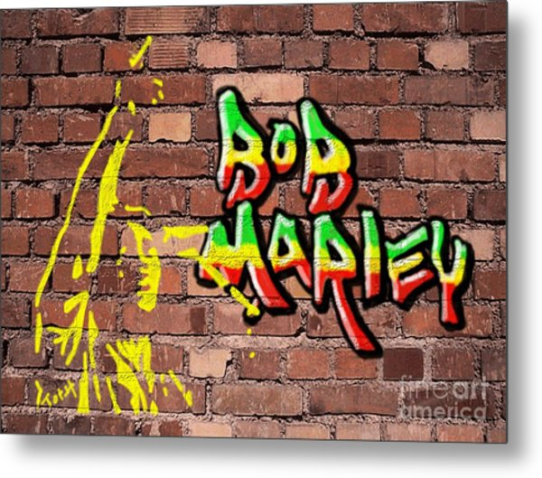 Bob Marley Graffiti Metal Print
