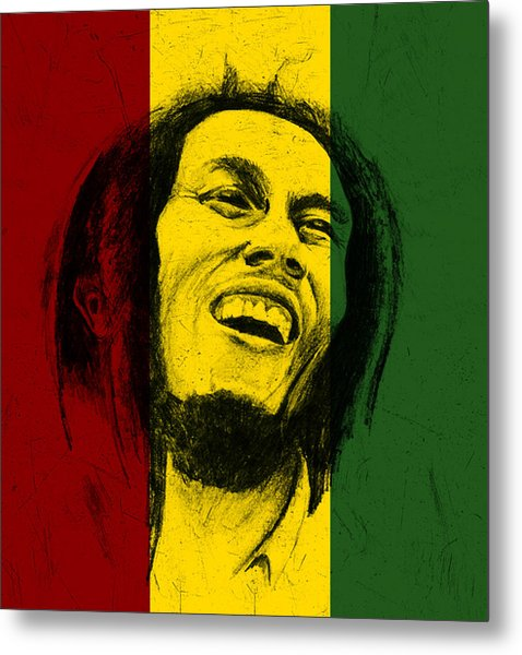 Bob Marley Reggae Tribute Metal Print by Allan Swart