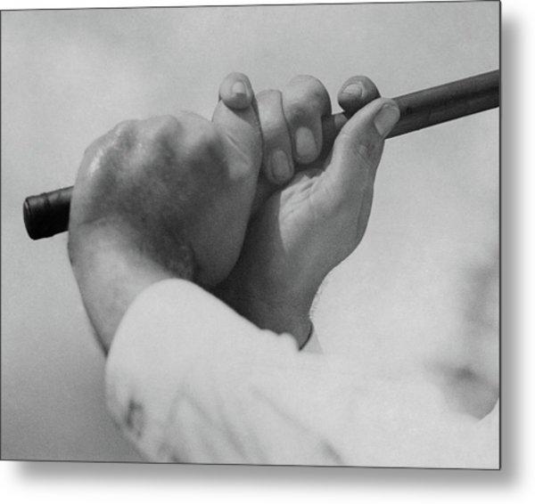 Bobby Jones Holding A Golf Club Metal Print by O. B. Keeler