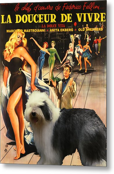 Bobtail -  Old English Sheepdog Art Canvas Print - La Dolce Vita Movie Poster Metal Print