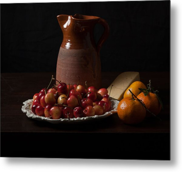 Bodegon With Cherries-oranges And Cheese Metal Print