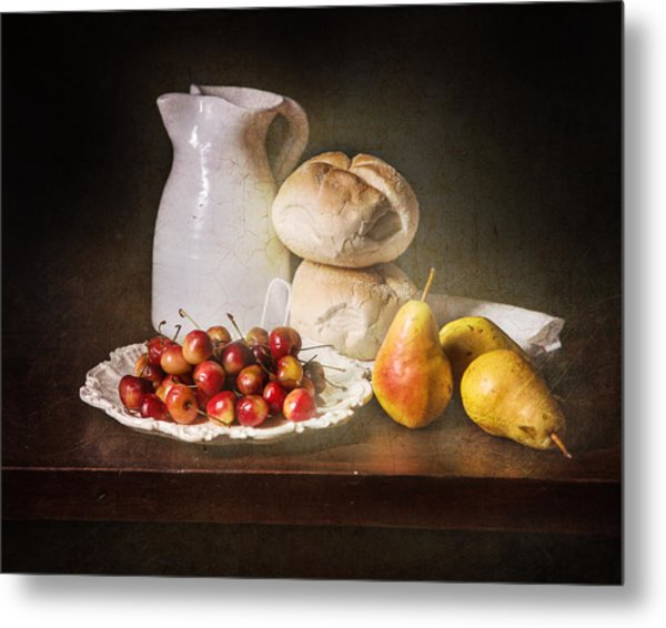 Bodegon With Cherries-pears-white Jar Metal Print