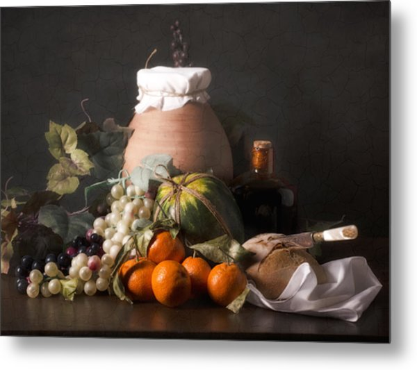 Bodegon With Grapes-watermelon And Big Jar Metal Print by Levin Rodriguez