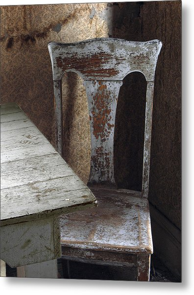 Bodie Chair And Table Metal Print by David Marr