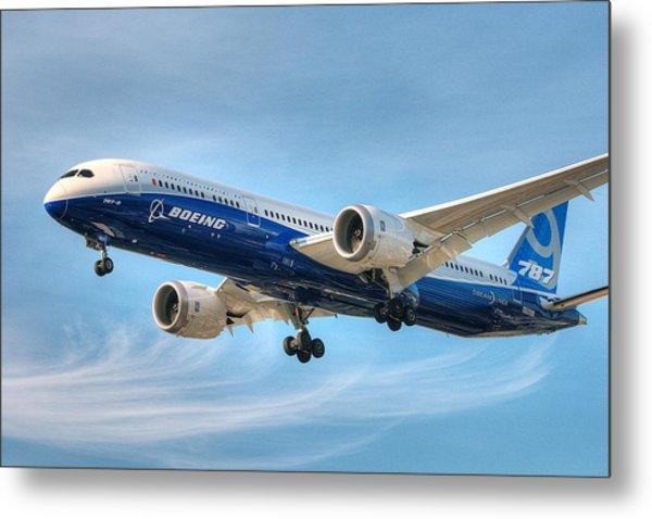 Boeing 787-9 Wispy Metal Print