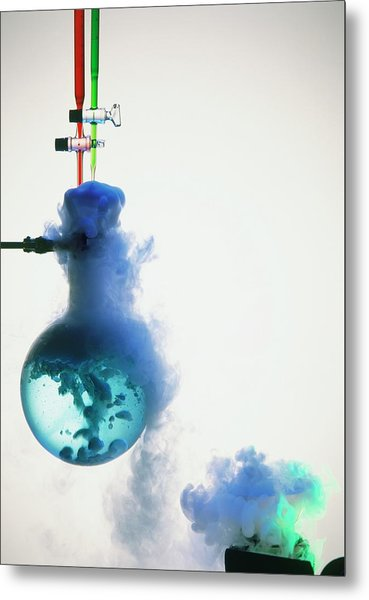 Boiling Blue Liquid In Flask Metal Print
