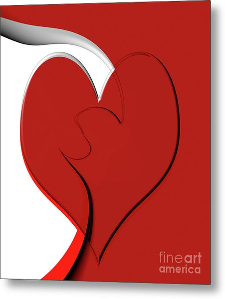 Bold Red Abstract Heart On Red And White Design 2 Metal Print
