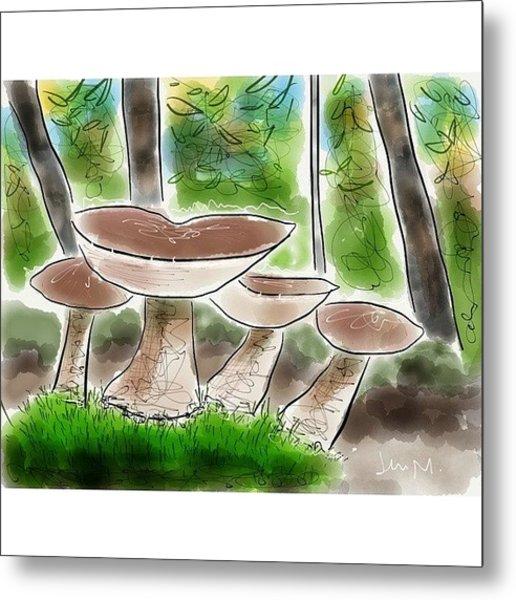 Bolete Mushrooms, Illinois Woods Metal Print