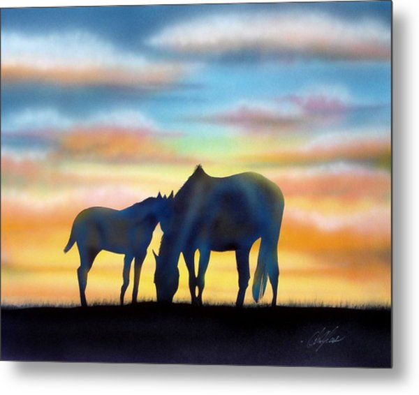 Bonding At Dusk - 1 Metal Print