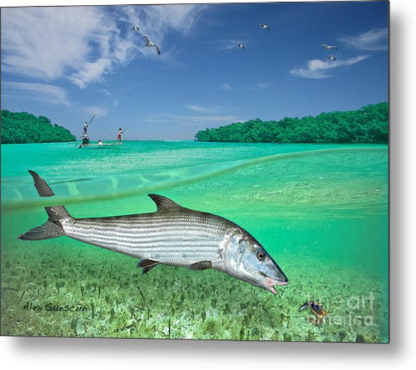 Bonefish Flat Metal Print