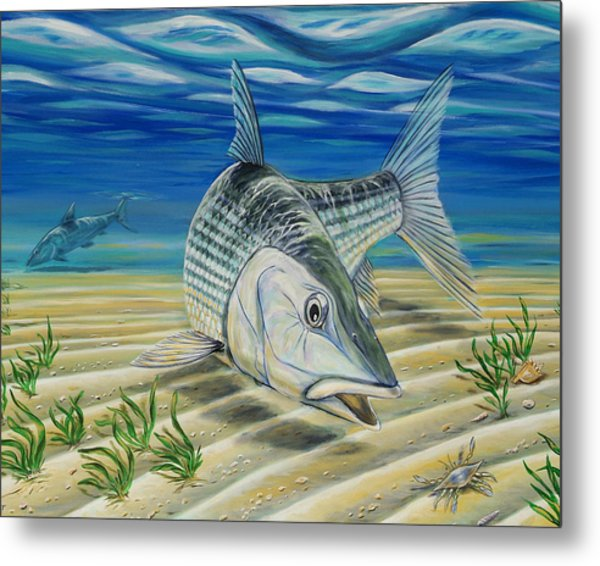 Metal Print featuring the painting Bonefish On The Flats by Steve Ozment