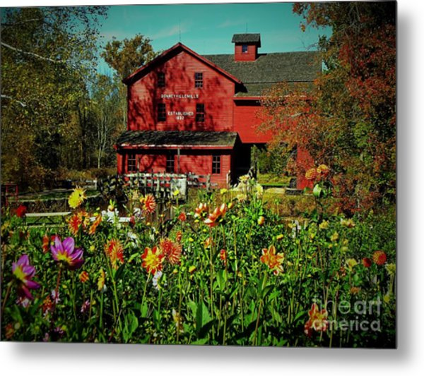 Bonneyville Grist Mill From Dahlia Garden Metal Print by Rory Cubel