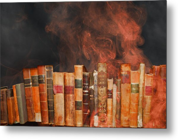 Book Burning Inspired By Fahrenheit 451 Metal Print