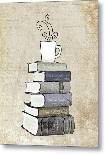 Books And Coffee Print Metal Print