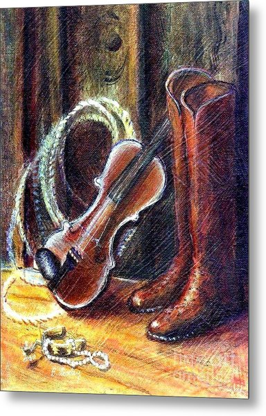 Boots And Pearls Metal Print