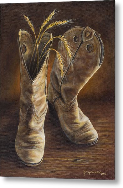 Boots And Wheat Metal Print