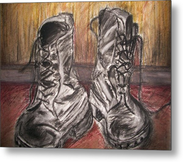 Boots In The Hall Way Metal Print