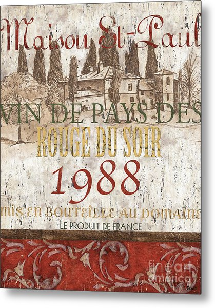 Bordeaux Blanc Label 1 Metal Print