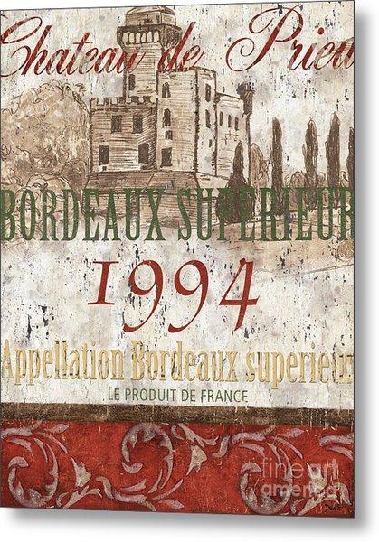 Bordeaux Blanc Label 2 Metal Print
