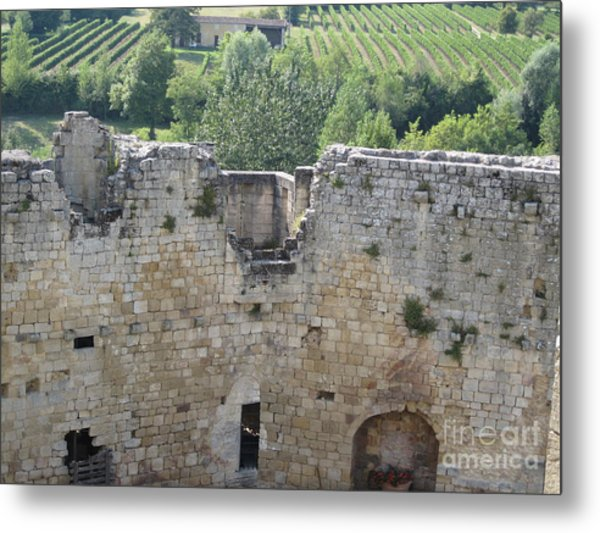 Bordeaux Castle Ruins With Vineyard Metal Print