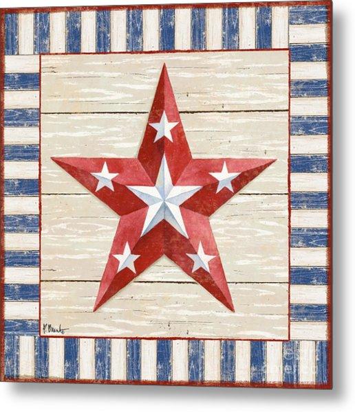 Bordered Patriotic Barn Star Iv Metal Print