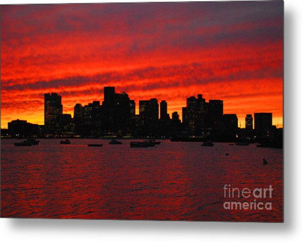 Boston City Sunset Metal Print