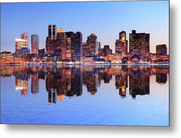 Boston City With Water Reflection At Metal Print by Buzbuzzer