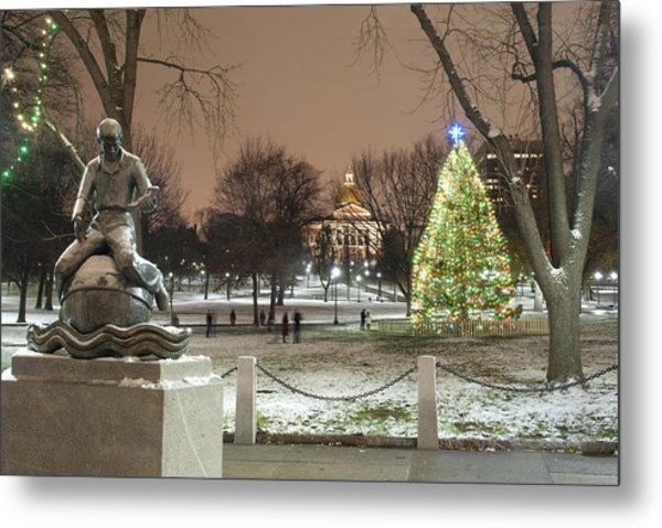 Boston Common Christmas Lights Metal Print by Gretchen Lally