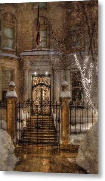 Boston Doorway In Snow - Back Bay Metal Print