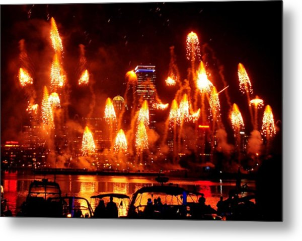 Boston Fireworks  Firepower Metal Print by John B Poisson