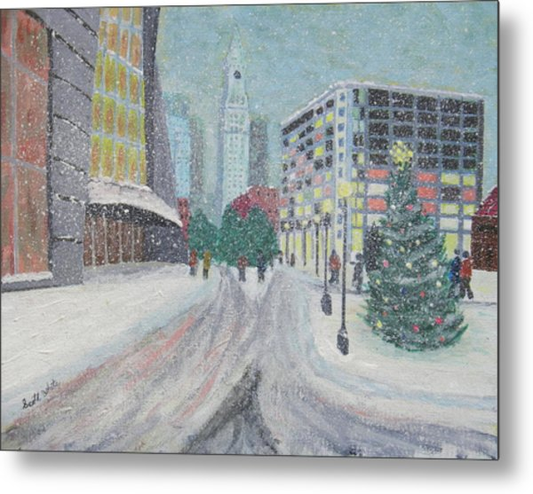 Boston First Snow Metal Print