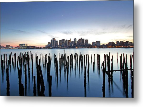 Boston Harbor Skyline With Ica Metal Print by Juergen Roth