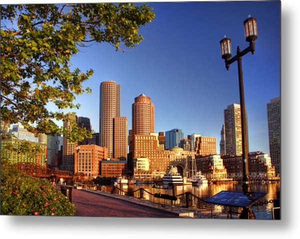 Boston Harbor Sunrise Metal Print by Joann Vitali