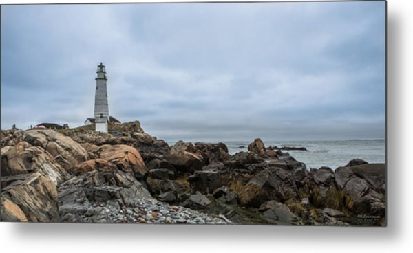 Boston Lighthouse On The Rocks Metal Print