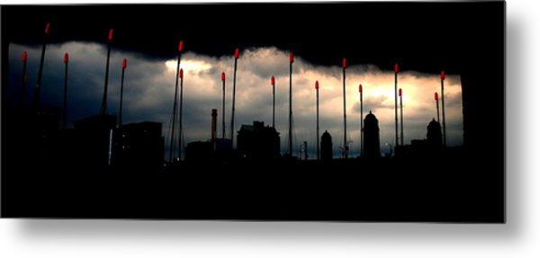 Boston Ma  Charles River Boat House Storm Metal Print by Ron Bartels