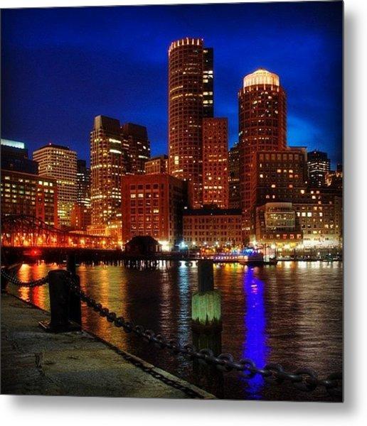 Boston Night Skyline From Fan Pier Metal Print