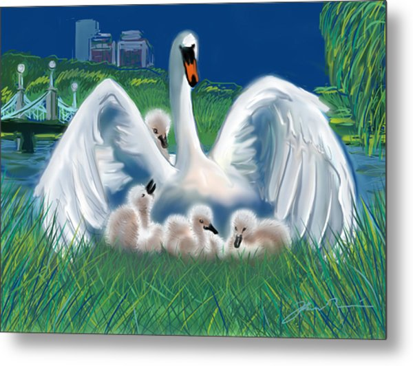 Boston Public Garden Swan Family Metal Print