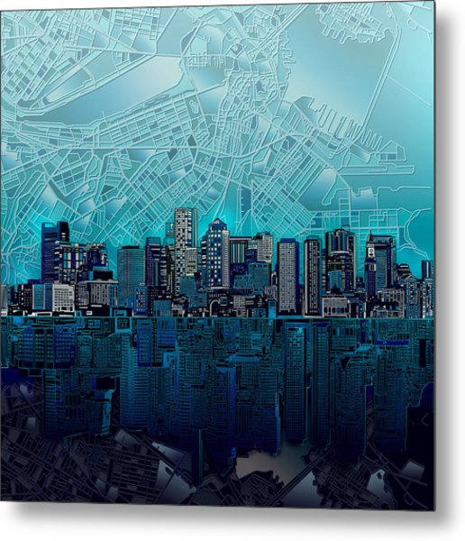 Boston Skyline Abstract Blue Metal Print