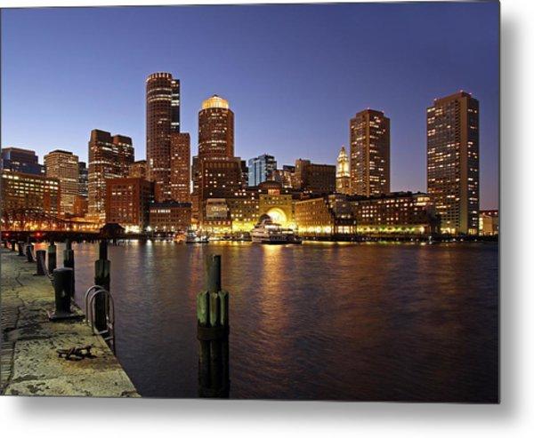 Boston Skyline And Fan Pier Metal Print