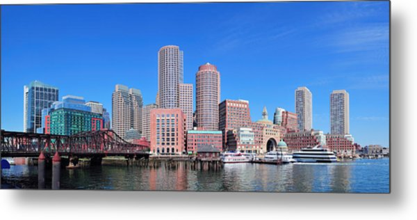 Boston Skyline Over Water Metal Print