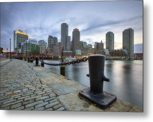 Boston Skyline Sunset Metal Print