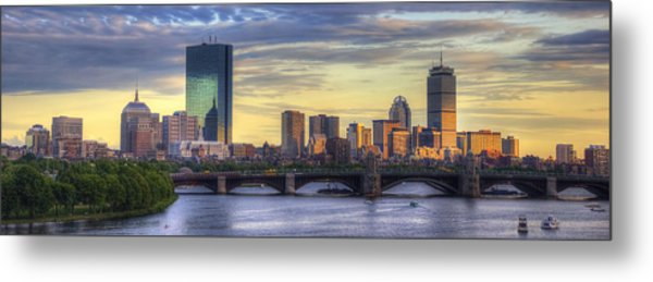 Boston Skyline Sunset Over Back Bay Panoramic Metal Print