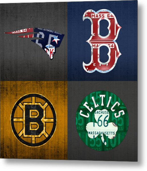 Boston Sports Fan Recycled Vintage Massachusetts License Plate Art Patriots Red Sox Bruins Celtics Metal Print
