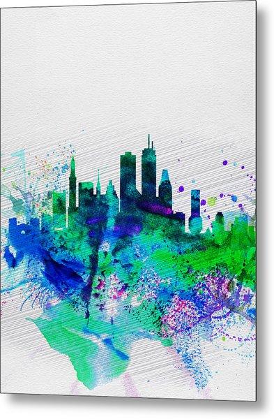 Boston Watercolor Skyline Metal Print