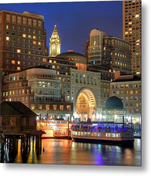 Boston Waterfront Skyline From Fan Metal Print